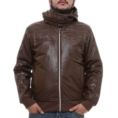 adidas - Padded Faux Leather Jacket (Brown Spice) | hhv.de