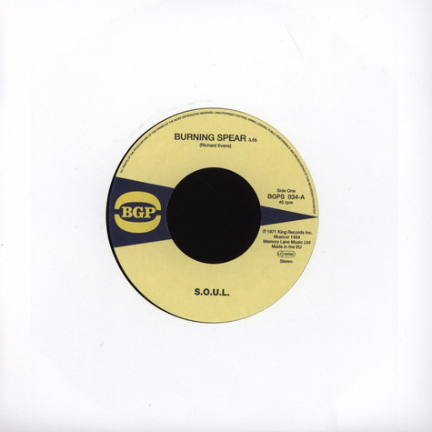 """S.O.U.L. - Burning Spear 7"""" Version / Do Whatever You Want To Do"""