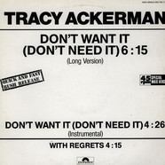 Tracy Ackerman - Don't Want It (Don't Need It)