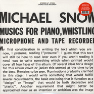 Michael Snow - Music For Piano, Whistling, Microphone And Tape Recorder