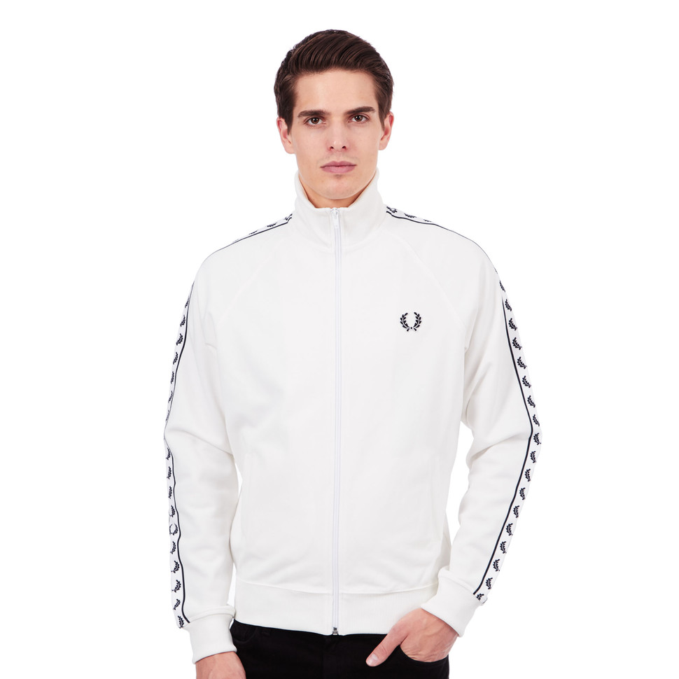 fred perry laurel wreath taped track jacket snow white. Black Bedroom Furniture Sets. Home Design Ideas