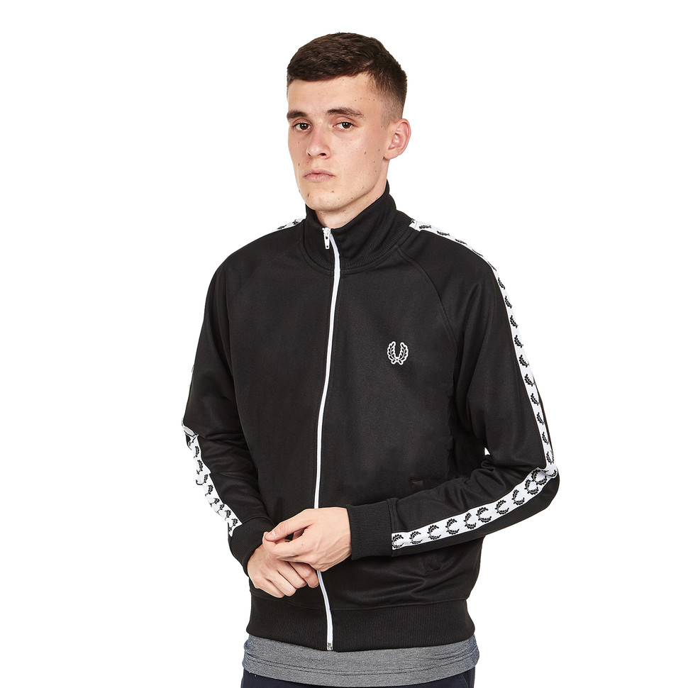 fred perry laurel wreath taped track jacket black. Black Bedroom Furniture Sets. Home Design Ideas