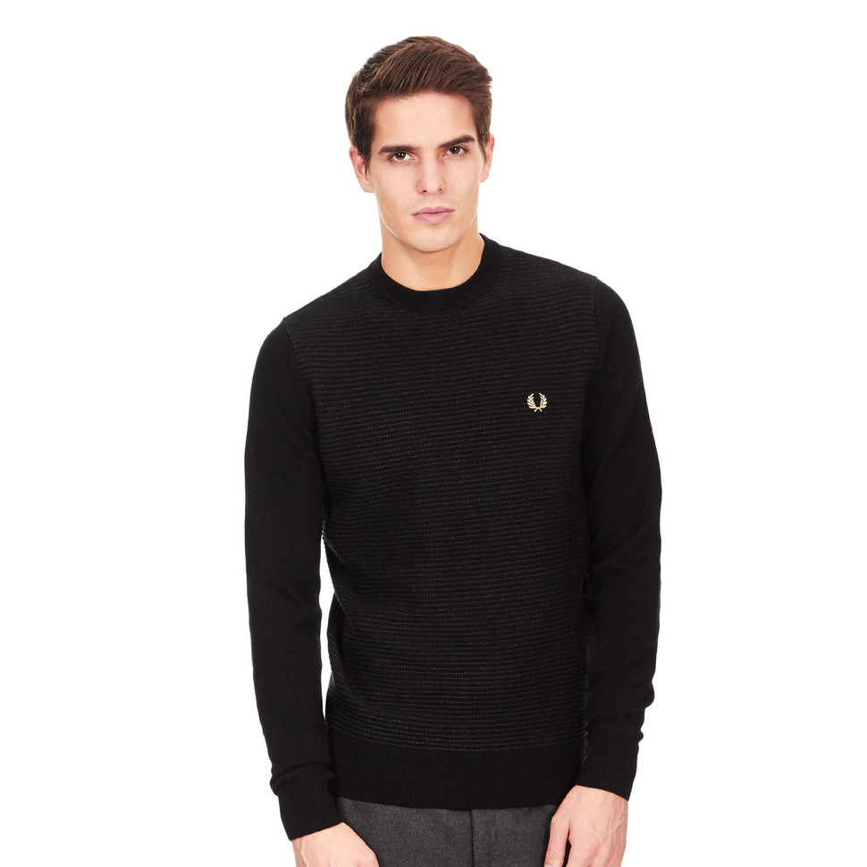 fred perry textured stripe crewneck sweater black. Black Bedroom Furniture Sets. Home Design Ideas