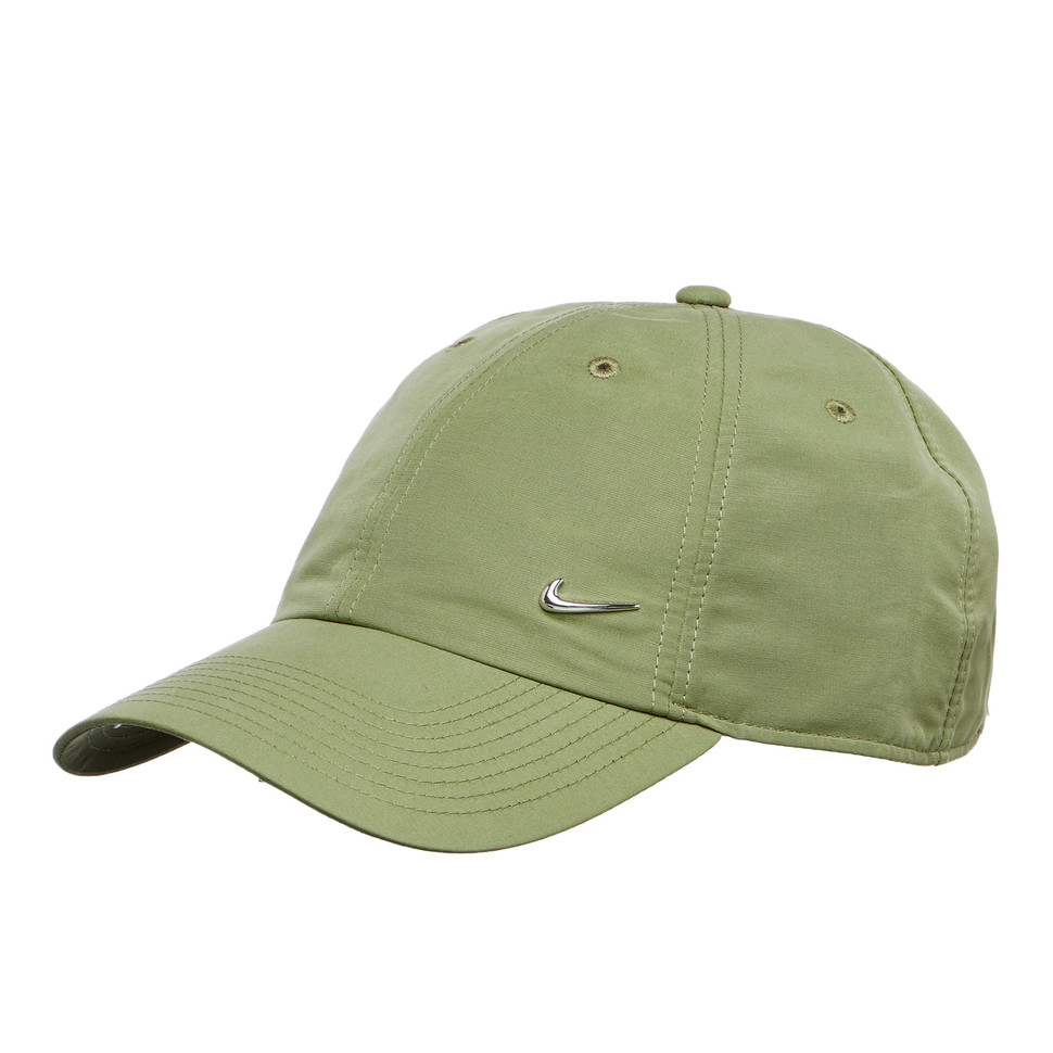 nike metal swoosh cap palm green metallic silver