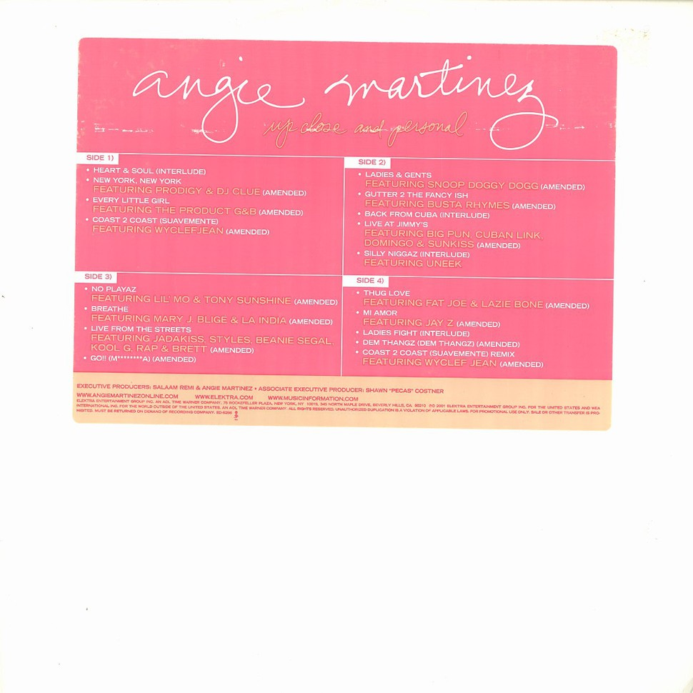 Angie Martinez Up Close And Personal Vinyl 2lp 2001 Us