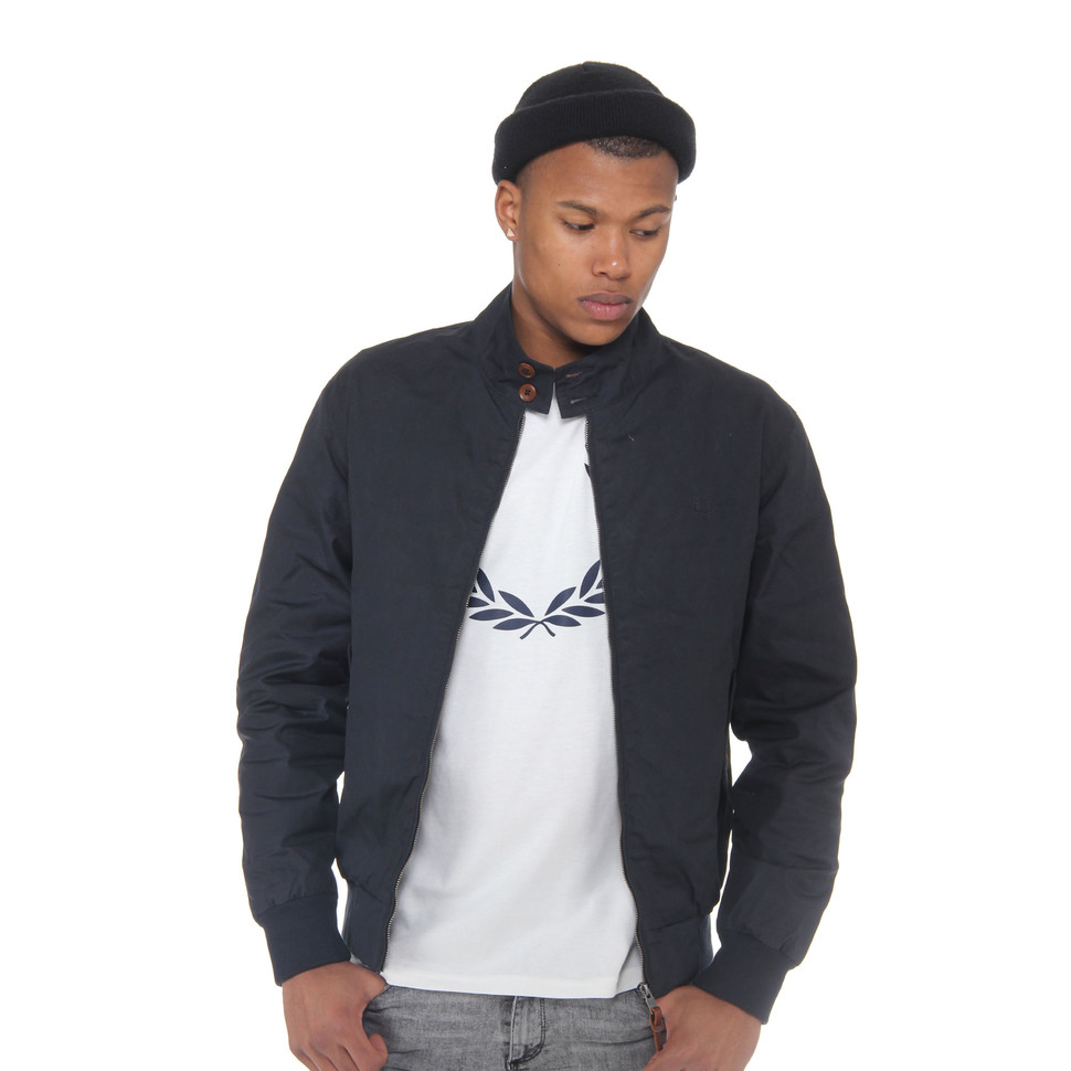 fred perry waxed cotton harrington jacket navy hhv. Black Bedroom Furniture Sets. Home Design Ideas