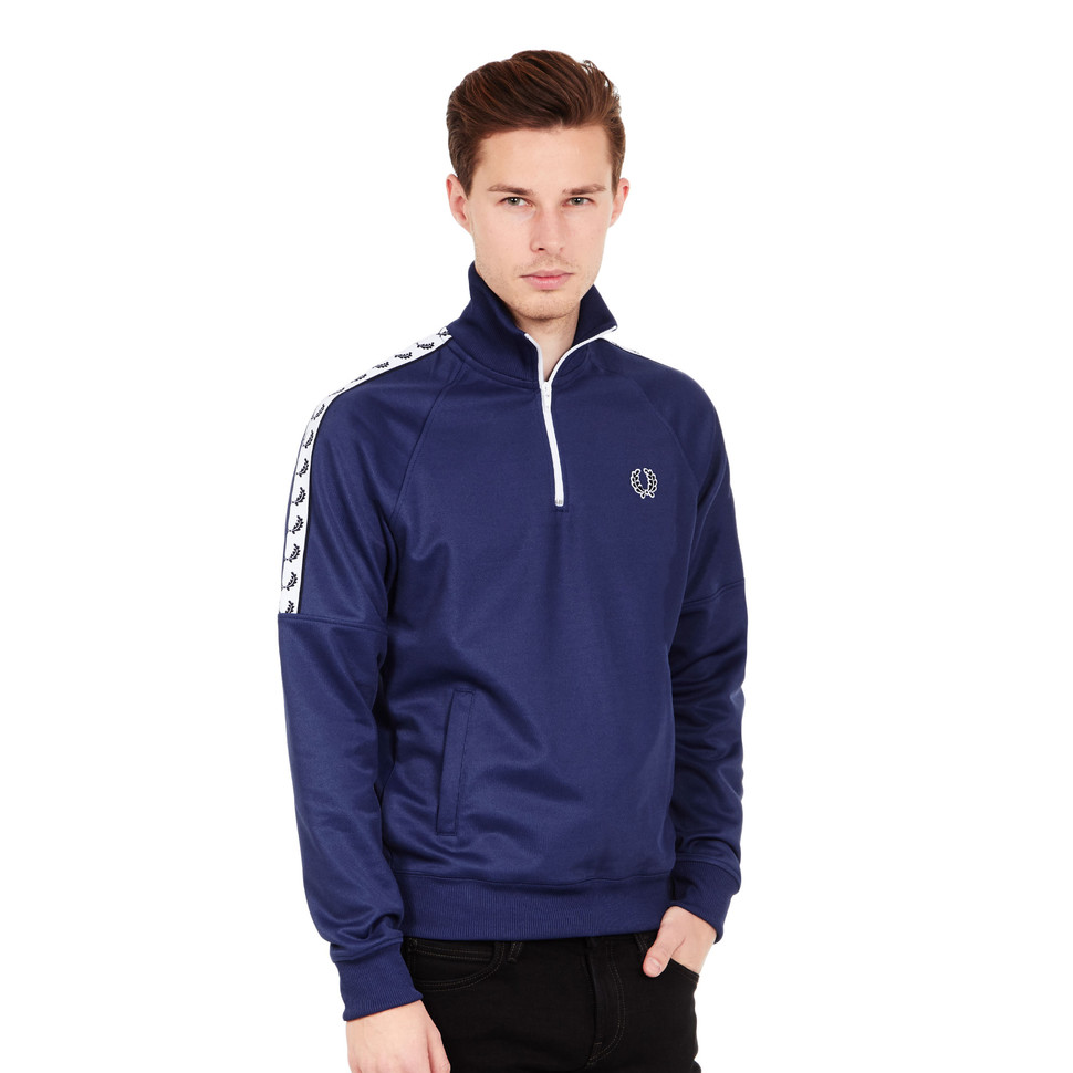 fred perry half zip taped track top pacific blue. Black Bedroom Furniture Sets. Home Design Ideas