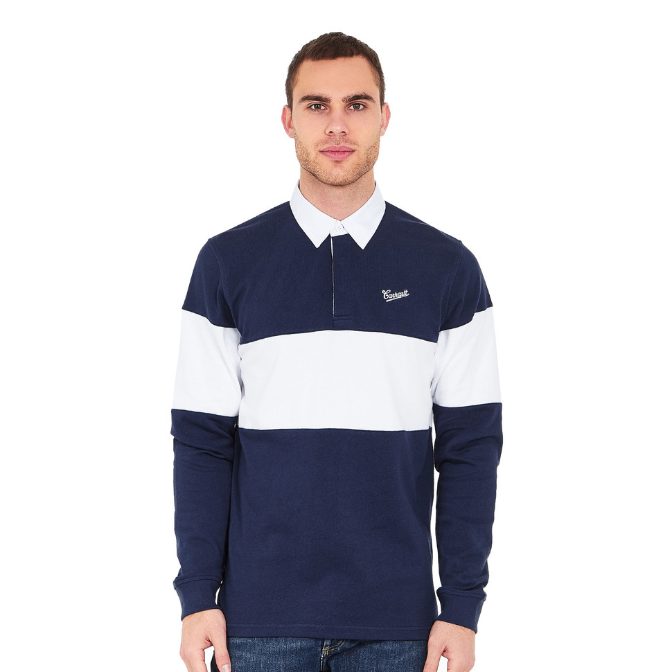 Carhartt wip strike rugby polo blue white hhv for Big and tall polo rugby shirts