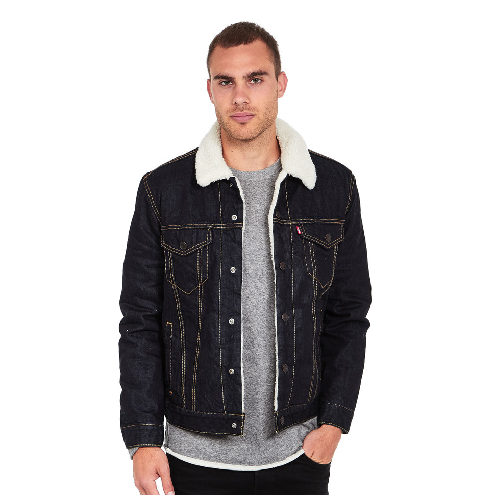 levi 39 s type 3 sherpa trucker jacket raw power sherpa hhv. Black Bedroom Furniture Sets. Home Design Ideas
