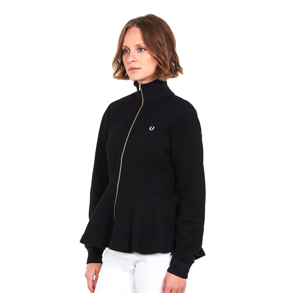 fred perry peplum tricot track jacket black. Black Bedroom Furniture Sets. Home Design Ideas