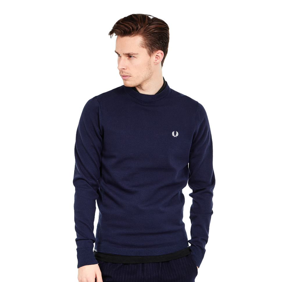 fred perry twin tipped crew neck jumper bright navy. Black Bedroom Furniture Sets. Home Design Ideas