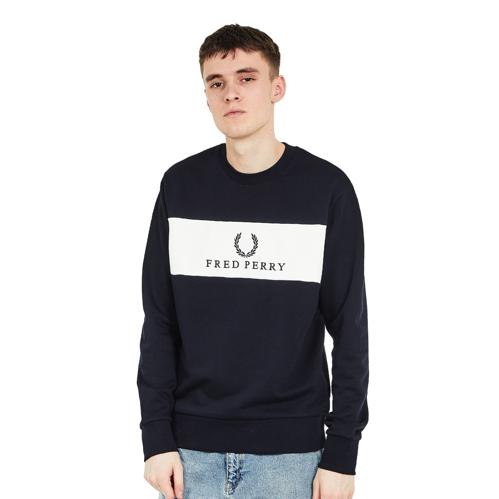fred perry panel embroidered sweat navy hhv. Black Bedroom Furniture Sets. Home Design Ideas
