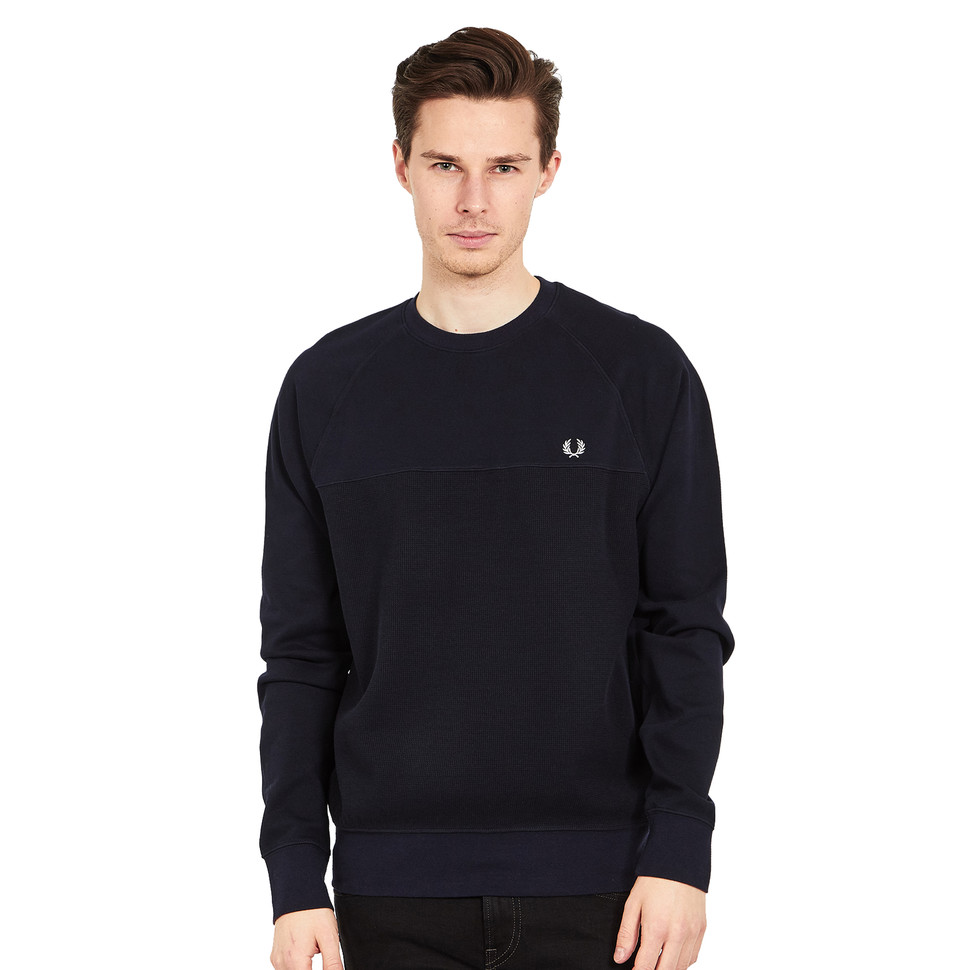 fred perry textured panel crew neck navy. Black Bedroom Furniture Sets. Home Design Ideas