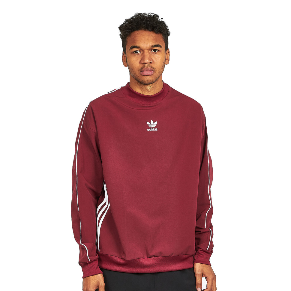 adidas - Authentics Stripe Crewneck Sweater (Noble Maroon   Noble Maroon)  dc336a3282be